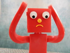Worried red robot
